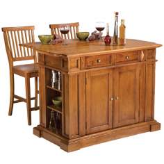 Distressed Cottage Oak Kitchen Island Set with Two Stools