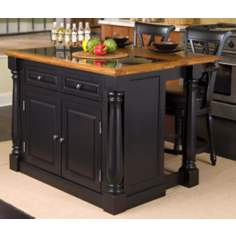 Monarch Granite Top Black Kitchen Island with Stools
