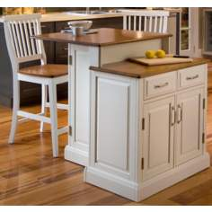 Woodbridge White Two-Tier Kitchen Island with Stools