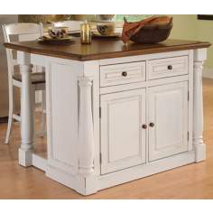 Monarch Antiqued White Kitchen Island with Two Stools