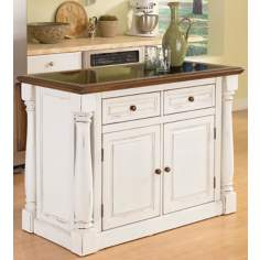 Monarch Antiqued White Kitchen Island with Granite Inset