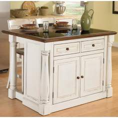 Monarch Granite Inset White Kitchen Island and Two Stools