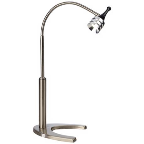 Spot LED Gooseneck Desk Lamp Brushed Steel