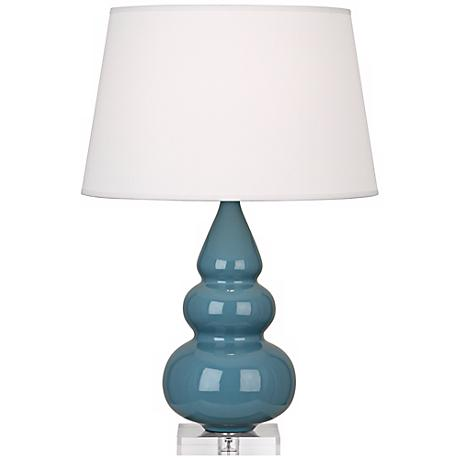 Robert Abbey Steel Blue Triple Gourd Ceramic Table Lamp