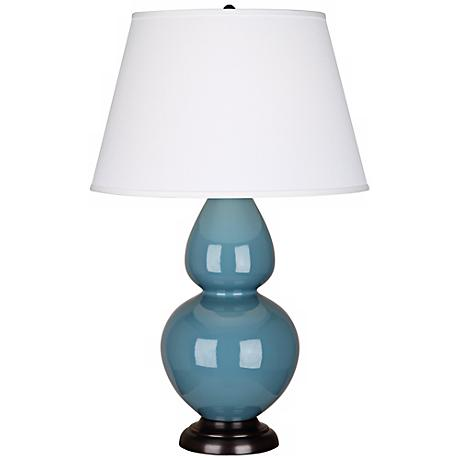 "Robert Abbey 31"" Steel Blue Ceramic and Bronze Table Lamp"
