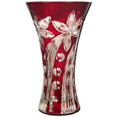 Dale Tiffany Red Floral Large Crystal Vase
