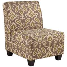 Milan Gray Ikat Armless Accent Chair