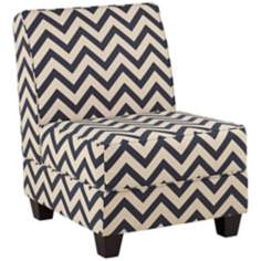Milan Navy Zig Zag Armless Accent Chair