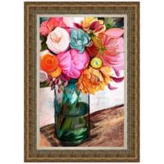 "Blue Glass Vase 42 3/4"" High Floral Wall Art"