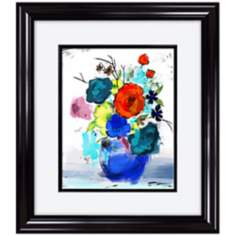 "Flower Power 33"" High Framed Floral Wall Art"