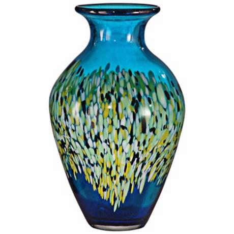 Dale Tiffany Poppy Field Tall Hand-Blown Art Glass Vase