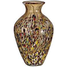 Dale Tiffany Amber Speckle Tall Hand-Blown Art Glass Vase