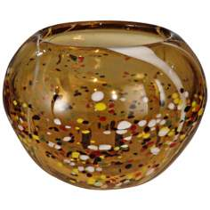 Dale Tiffany Amber Speckle Round Hand-Blown Glass Bowl
