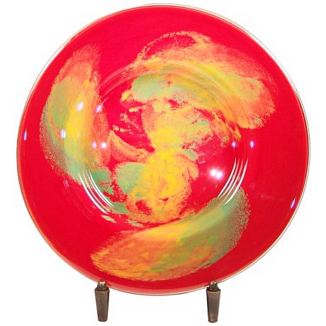 Dale Tiffany Orange Burst Art Glass Charger