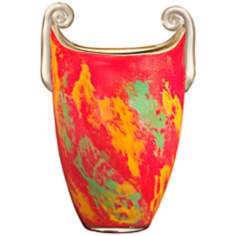 Dale Tiffany Orange Burst Oval Art Glass Vase