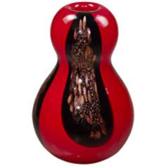 Dale Tiffany Roseville Black and Red Art Glass Gourd Vase