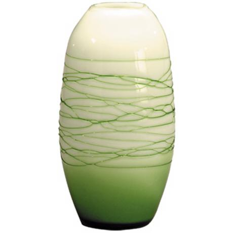 Dale Tiffany Westerly Green Oval Hand-Blown Glass Vase