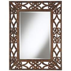 "Espresso Scroll Wood Openwork 39"" High Wall Mirror"