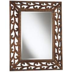 "Espresso Scroll Wood Openwork 38 1/2"" High Wall Mirror"