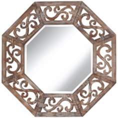 "Ocho 33"" High Openwork Wood Wall Mirror"