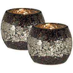 Dale Tiffany Set of 2 Quartz Mosaic Glass Candle Holders