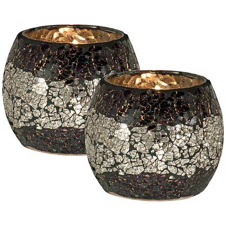 Dale Tiffany Quartz Glass Votive Candle Holder Set of 2
