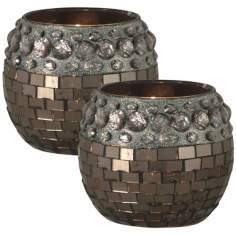Dale Tiffany Set of 2 Egyptian Hazelnut Candle Holders