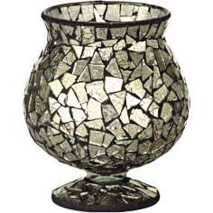 Dale Tiffany Silver Mosaic Hurricane Candle Holder