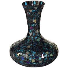 Dale Tiffany Sapphire Small Mosaic Glass Decanter Vase