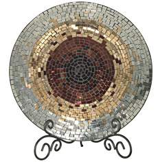 Dale Tiffany Copper Gold and Silver Mosaic Glass Charger