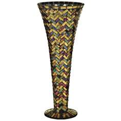 Dale Tiffany Herringbone Small Mosaic Art Glass Vase