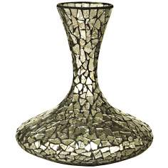 Dale Tiffany Silver Long Neck Mosaic Decanter Vase