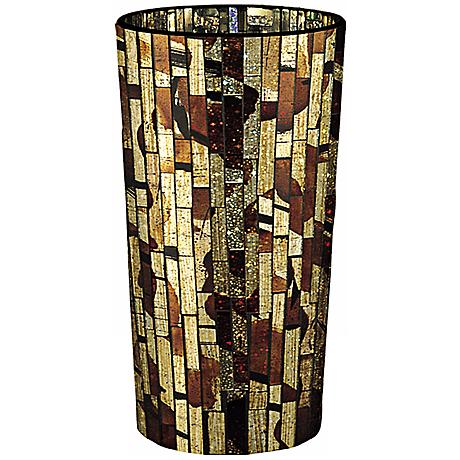 Dale Tiffany Bella Terra Small Cylinder Mosaic Glass Vase