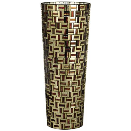 Dale Tiffany Ravenna Large Cylinder Mosaic Art Glass Vase