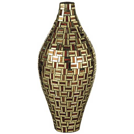 Dale Tiffany Ravenna Tall Bulbous Mosaic Art Glass Vase