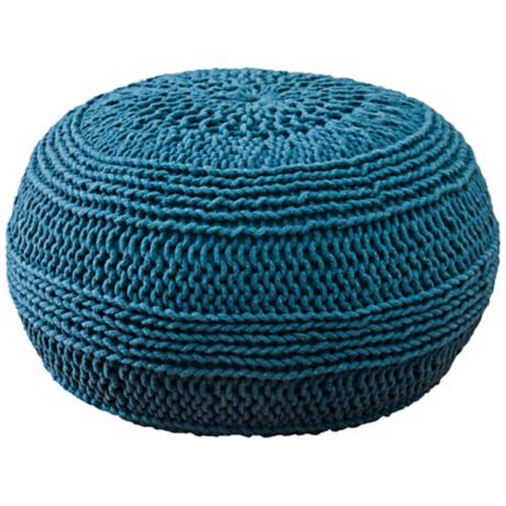 Teal Blue Roped Cotton Pouf Ottoman