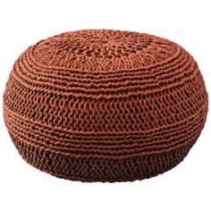 Rust Red Roped Cotton Pouf Ottoman