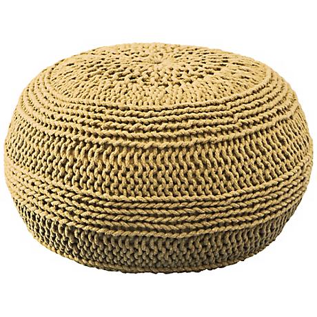 Mustard Yellow Roped Cotton Pouf Ottoman
