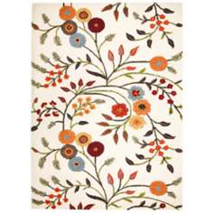 Dimensions DI1466 Orange Floral Area Rug