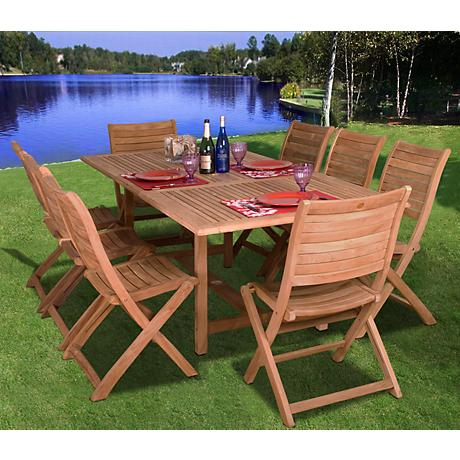 Amazonia 9 Piece Teak Wood Dublin Outdoor Dining Set