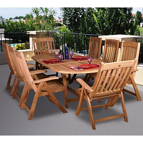 Amazonia 9-Piece Teak Wood Belfast Outdoor Dining Set