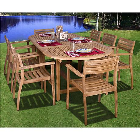 Coventry 9-Piece Teak Wood Outdoor Table and Chairs Set