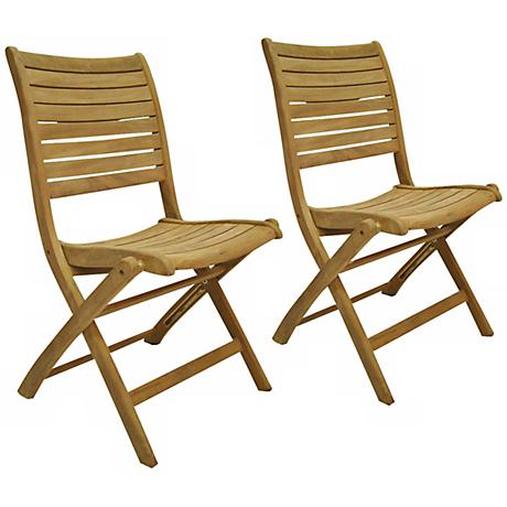 Amazonia Teak Dublin Outdoor Folding Chairs Set of 2