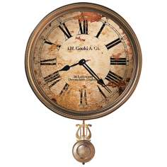 "Howard Miller J.H. Gould 21"" High Brass Wall Clock"