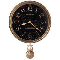 "Howard Miller 21"" High Paris Night Brass Wall Clock"