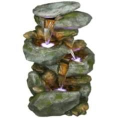 Rocky Falls Three-Tier LED Fountain