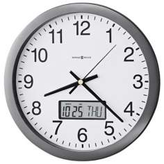 "Howard Miller Chronicle 14"" Wall Clock with LCD Calendar"