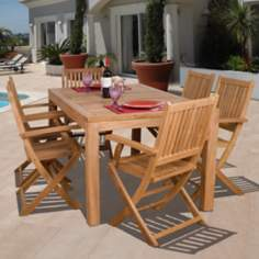 Amazonia 7 Pieces Teak Budapest Outdoor Dining Set