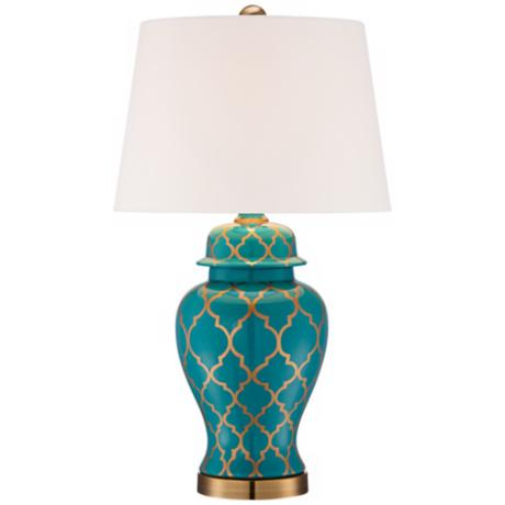 Moorish Pattern Ceramic Table Lamp - #X5372 | LampsPlus.