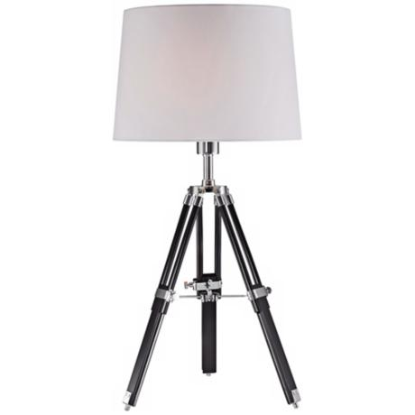 Lite Source Jiordano Tripod Black Wood Table Lamp